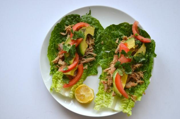Lettuce wrap pork carnitas tacos