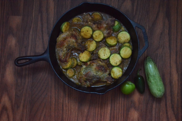 Pork Chops and Zucchini in Salsa Verde