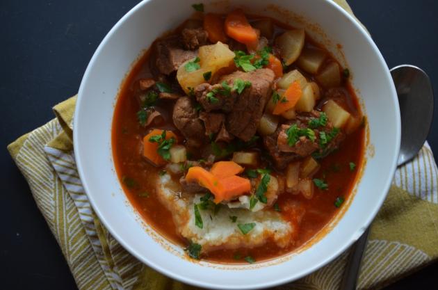 Beef stew over mashed cauliflower